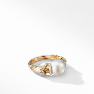 Helena Pearl Ring in 18K Yellow Gold with Diamonds