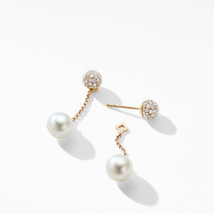 Solari Chain Drop Earring in 18K Yellow Gold with Pearls and Diamonds alternative image