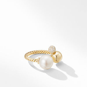 Solari Cluster Ring in 18K Yellow Gold with Pearl and Diamonds