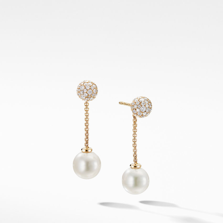 Solari Chain Drop Earring in 18K Yellow Gold with Pearls and Diamonds