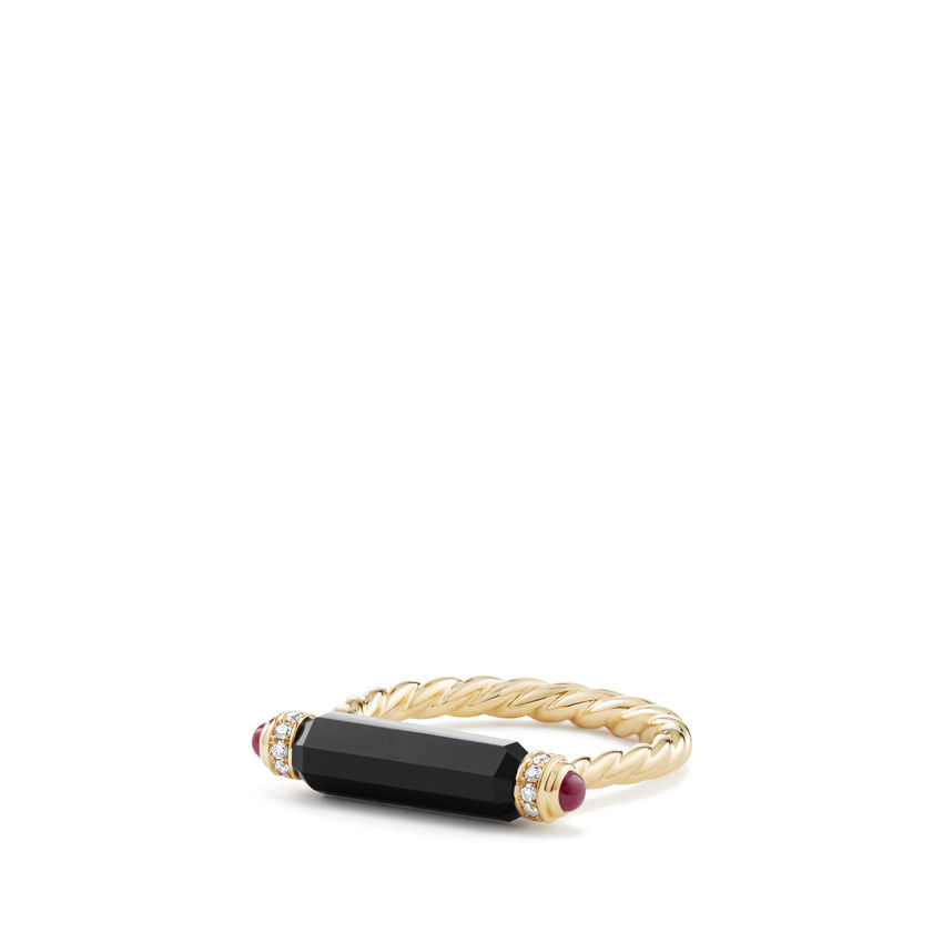 Barrels Ring with Black Onyx Rubies and Diamonds in 18K Gold
