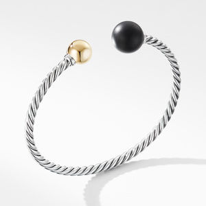 Solari XL Cable Bracelet with Matte Black Onyx, Gold Dome and 14K Yellow Gold