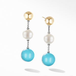 Solari XL Chain Drop Earrings with Reconstituted Turquoise, Pearl and 14K Yellow Gold
