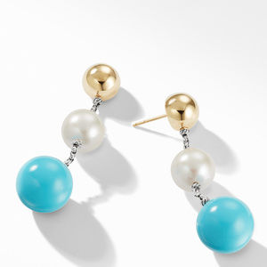 Solari XL Chain Drop Earrings with Reconstituted Turquoise, Pearl and 14K Yellow Gold alternative image