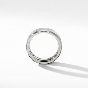 Beveled Band Ring in Grey Titanium with Meteorite alternative image