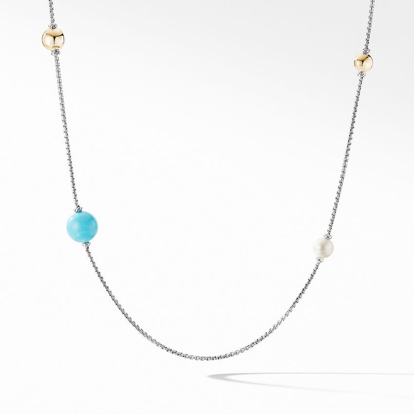 Solari XL Station Chain Necklace with Reconstituted Turquoise, Pearls and 14K Yellow Gold