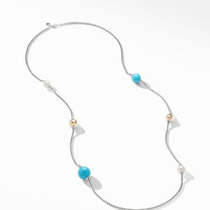 Solari XL Station Chain Necklace with Reconstituted Turquoise, Pearls and 14K Yellow Gold alternative image