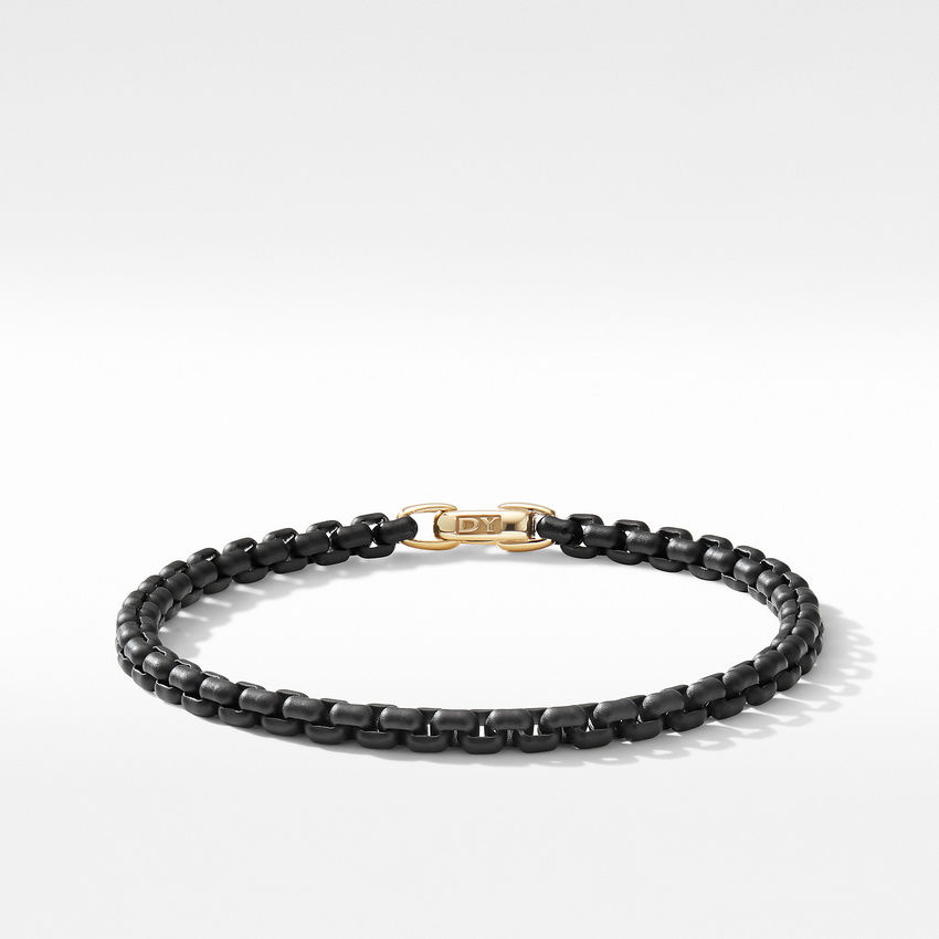 DY Bel Aire Chain Bracelet in Black with 14K Yellow Gold Accent