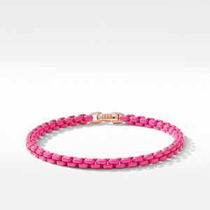 DY Bel Aire Chain Bracelet in Hot Pink with 14K Rose Gold Accent
