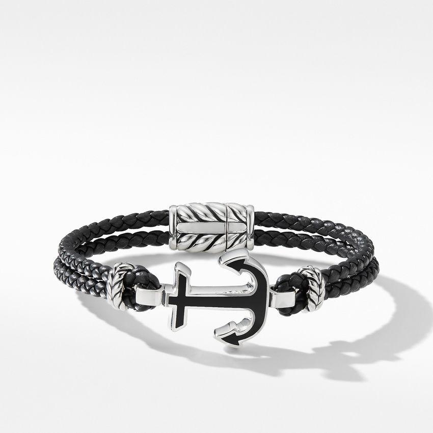 Maritime® Anchor Station Black Leather Bracelet with Black Onyx