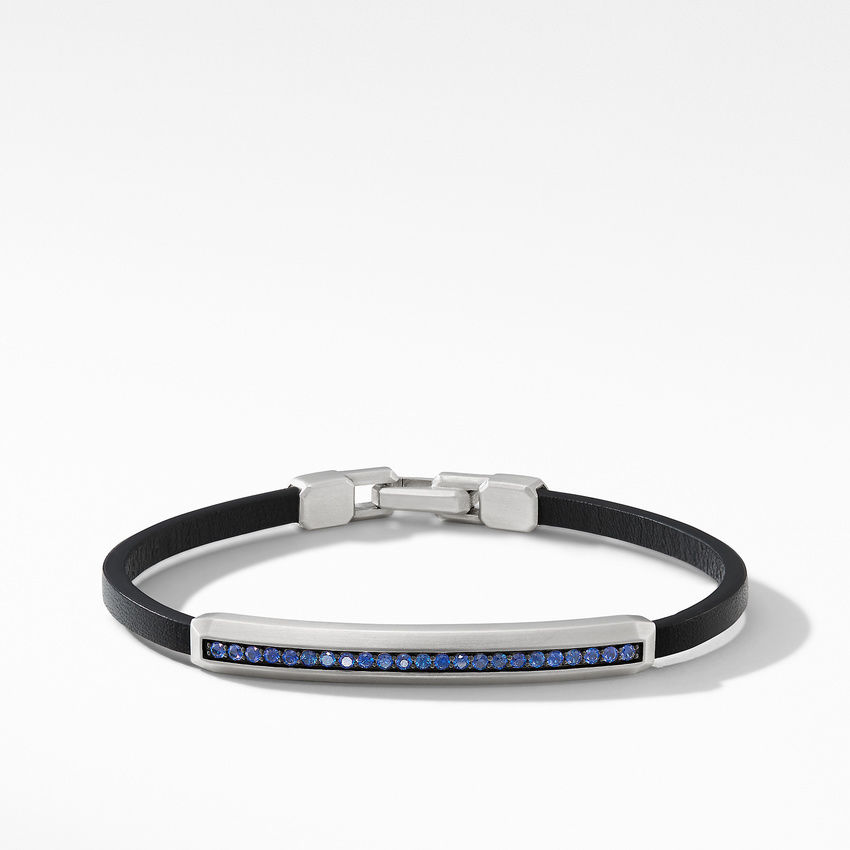 Pavé Leather ID Bracelet with Sapphires