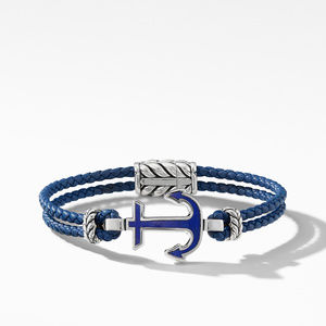 Maritime® Anchor Station Blue Leather Bracelet with Lapis