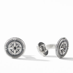Maritime® Compass Cufflinks with Center Black Diamond