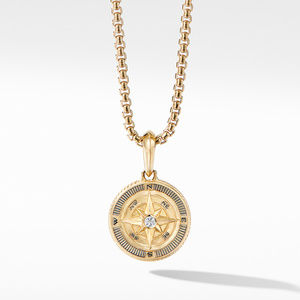 Maritime® Compass Amulet in 18K Yellow Gold with Center Diamond