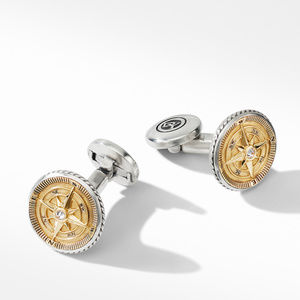 Maritime® Compass Cufflinks with 18K Yellow Gold and Center Diamond