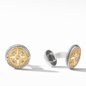 Maritime® Compass Cufflinks with 18K Yellow Gold and Center Diamond alternative image