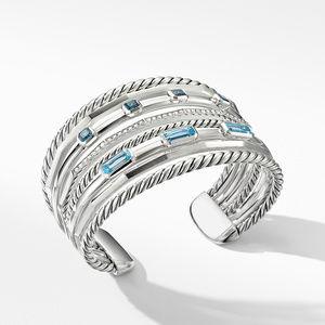 Stax Wide Cuff Bracelet with Blue Topaz and Diamonds alternative image