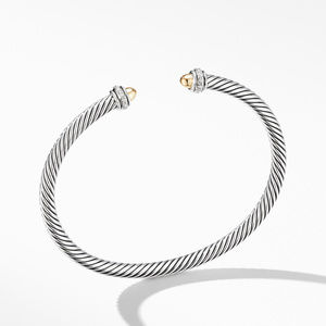 Cable Classic Bracelet with 18K Yellow Gold Domes and Diamonds