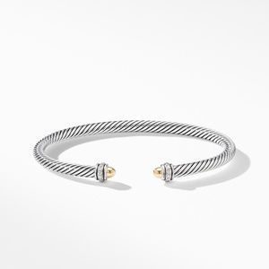 Cable Classic Bracelet with 18K Yellow Gold Domes and Diamonds alternative image