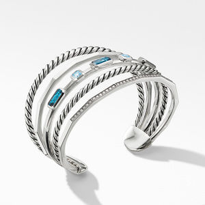 Stax Narrow Cuff Bracelet with Hampton Blue Topaz and Diamonds alternative image