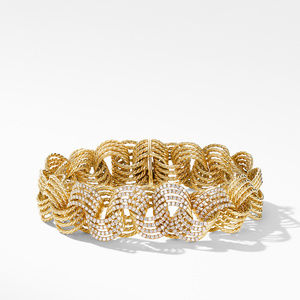 DY Origami Micro Cable Bracelet in 18K Yellow Gold with Diamonds
