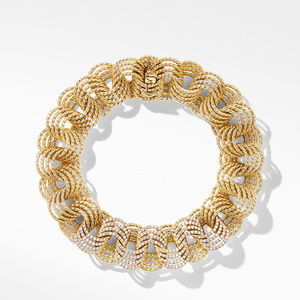 DY Origami Micro Cable Bracelet in 18K Yellow Gold with Diamonds alternative image