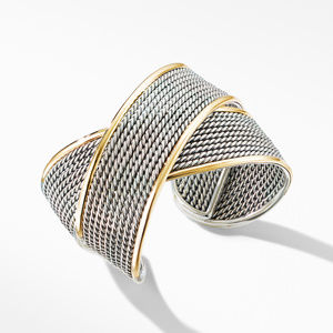 DY Origami Large Crossover Cuff Bracelet with 18K Yellow Gold