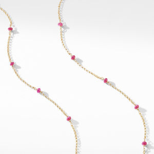 Cable Collectibles® Bead and Chain Necklace in 18K Yellow Gold with Rubies alternative image