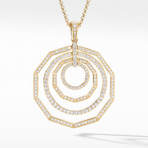 Stax Full Pavé Pendant Necklace in 18K Yellow Gold