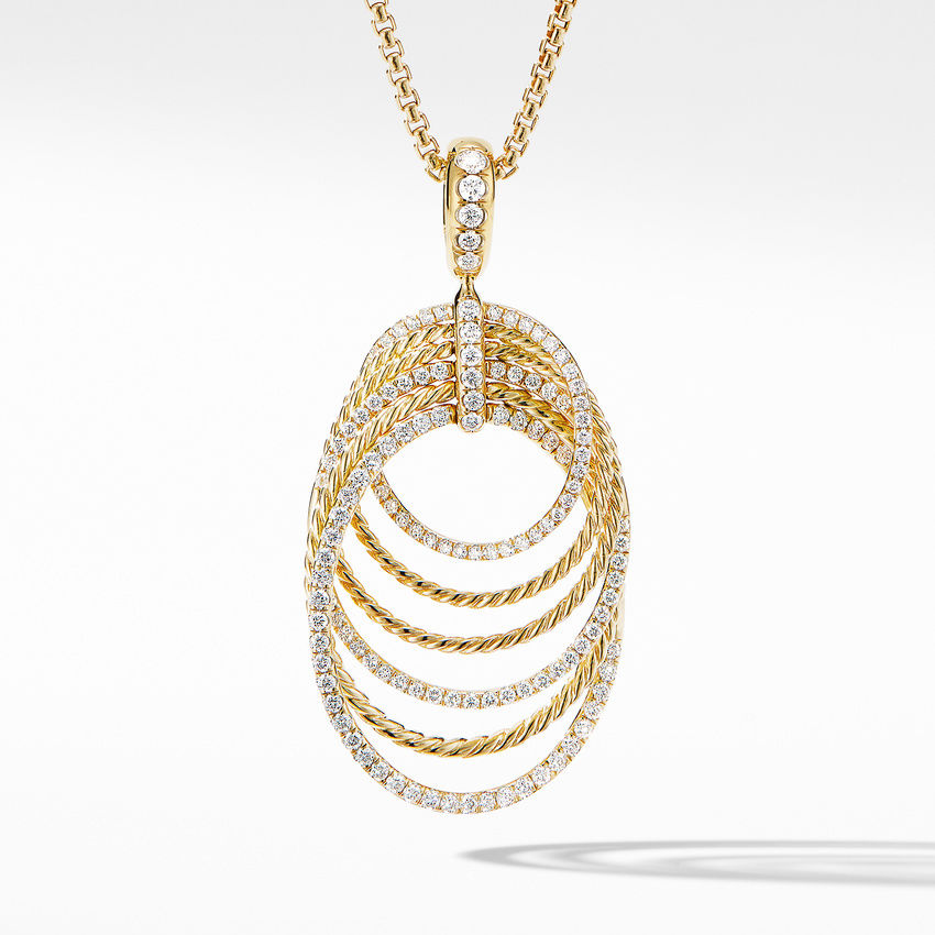 DY Origami Pendant Necklace in 18K Yellow Gold with Diamonds
