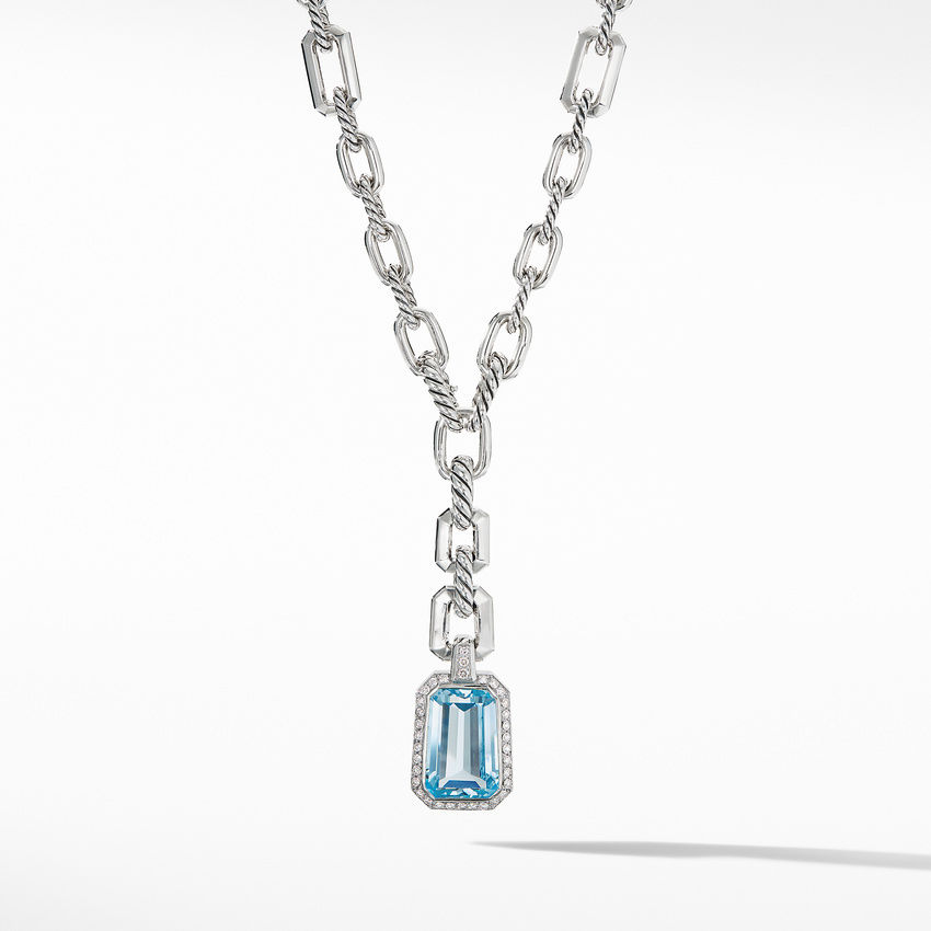 Stax Drop Pendant Necklace with Blue Topaz and Diamonds