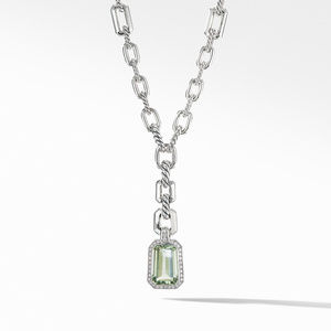 Stax Drop Pendant Necklace with Prasiolite and Diamonds