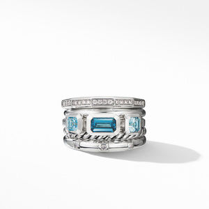 Stax Wide Ring with Hampton Blue Topaz and Diamonds alternative image