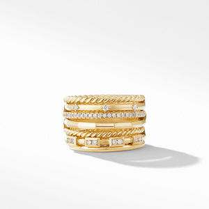 Stax Cable and Pavé Ring in 18K Yellow Gold alternative image
