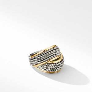 DY Origami Crossover Ring with 18K Yellow Gold
