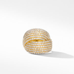 DY Origami Crossover Ring in 18K Yellow Gold with Diamonds alternative image