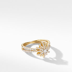 Starbust Ring in 18K Yellow Gold with Pavé Diamonds