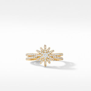 Starbust Ring in 18K Yellow Gold with Pavé Diamonds alternative image