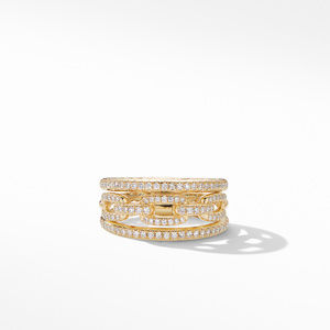 Stax Three-Row Chain Link Ring in 18K Yellow Gold and Diamonds alternative image
