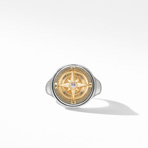 Maritime® Compass Signet Ring with 18K Yellow Gold and Center Diamond alternative image