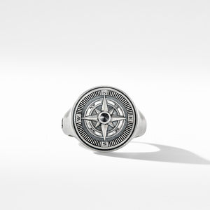 Maritime® Compass Signet Ring with Center Black Diamond alternative image