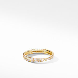 Micro Pavé DY Crossover® Band Ring in 18K Yellow Gold