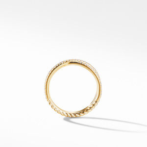 Micro Pavé DY Crossover® Band Ring in 18K Yellow Gold alternative image