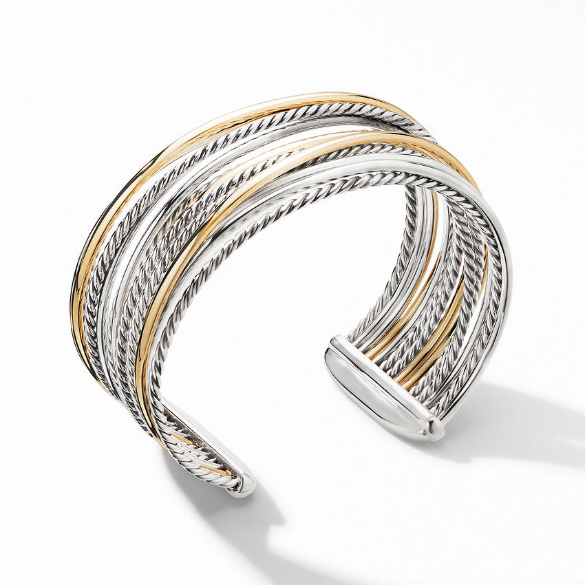 Crossover Wide Cuff Bracelet with 18K Yellow Gold