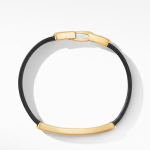Deco Black Leather ID Bracelet in 18K Yellow Gold alternative image