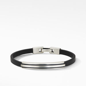 Deco Black Leather ID Bracelet
