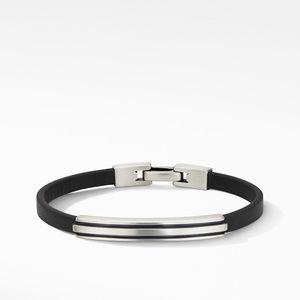 Deco Black Leather ID Bracelet