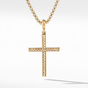 Modern Renaissance Cross Pendant in 18K Yellow Gold with Center Diamond alternative image