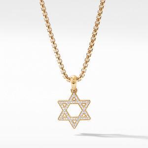 Modern Renaissance Star of David Pendant in 18K Yellow Gold with Diamonds