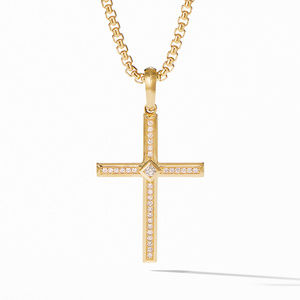 Modern Renaissance Cross Pendant in 18K Yellow Gold with Diamonds